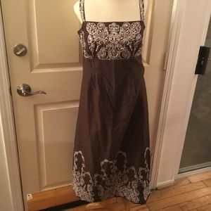 Chocolate Brown Embroidered Cotton Sundress